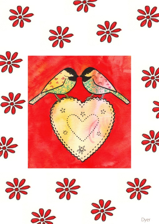 birds heart 5 x 7