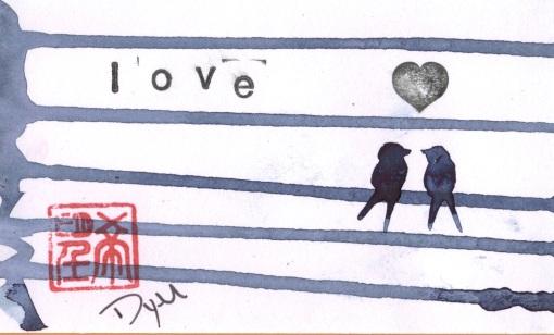 birds on wire heart
