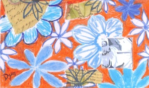 Index card blue flowers