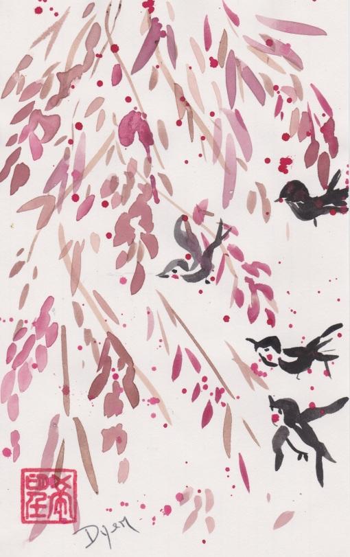 Birds plum blossom