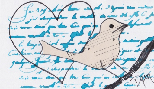 Index card heart bird
