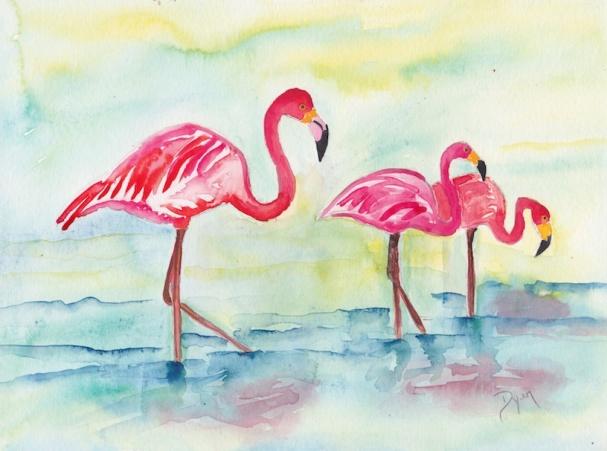 Sunset Flamingoes I 72.jpg