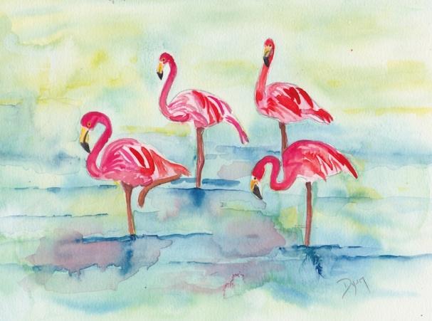 Sunset Flamingoes II 72.jpg
